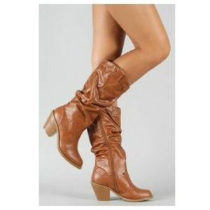 NEW Slouchy Cowboy Knee High Boot Stacked Heel